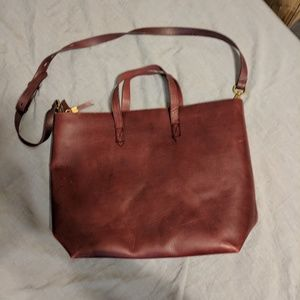 Madewell Zip-Top Transport Tote in Burgundy